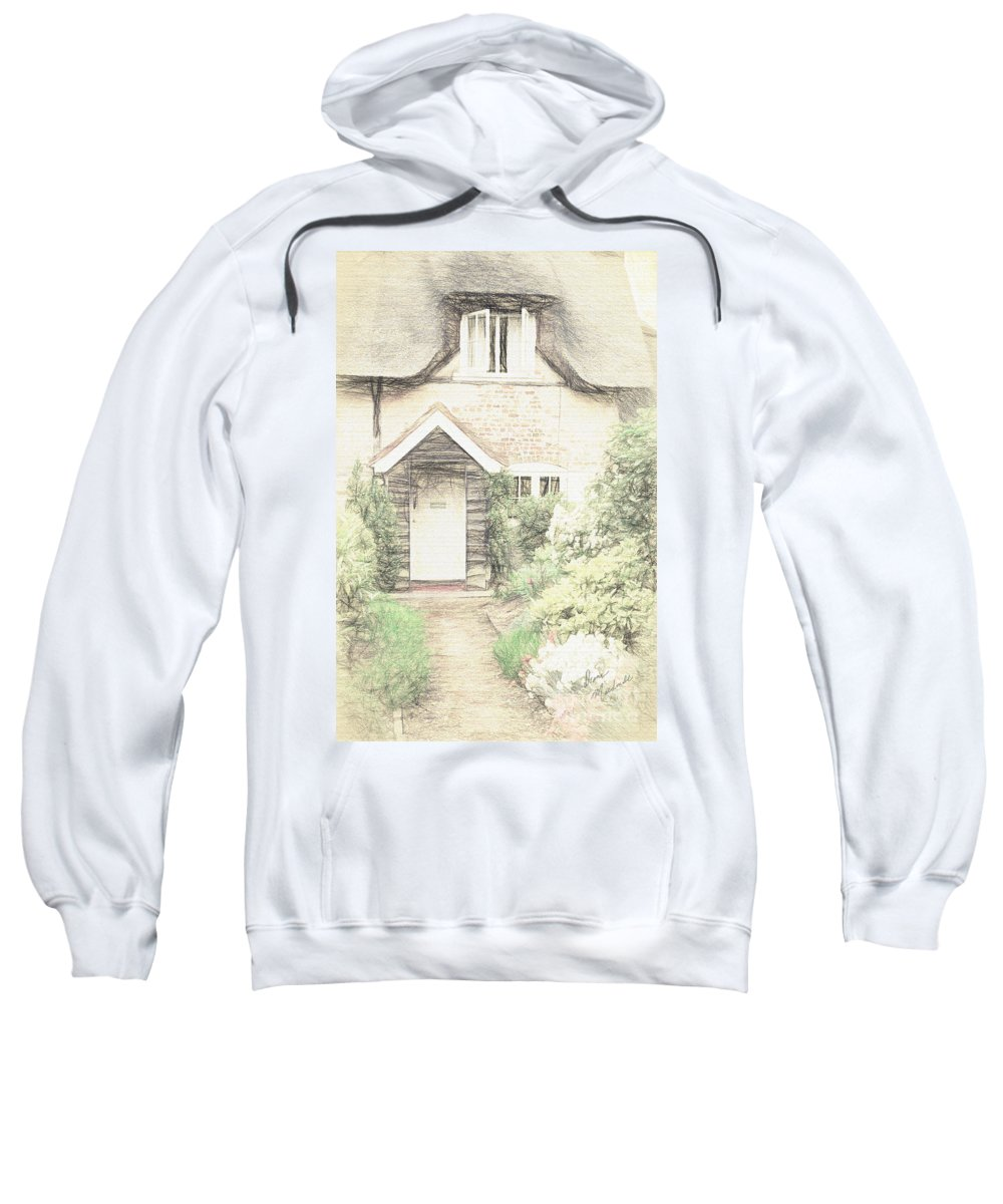 British Sweatshirt featuring the photograph Thatched Cottage by Diane Macdonald