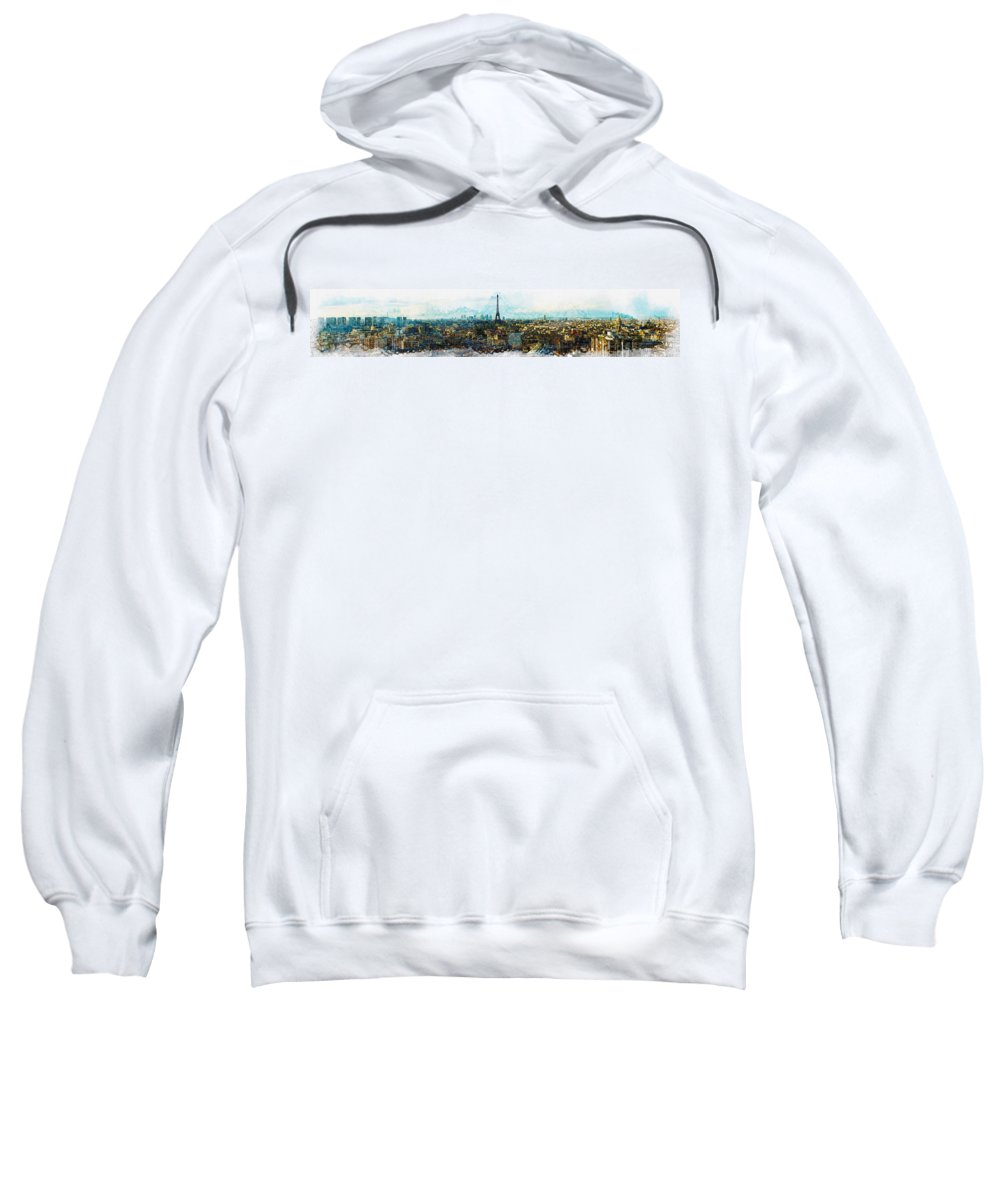 Art & Collectibles Sweatshirt featuring the digital art The Aesthetic Beauty Of Paris Tranquil Landscape by Don Kuing
