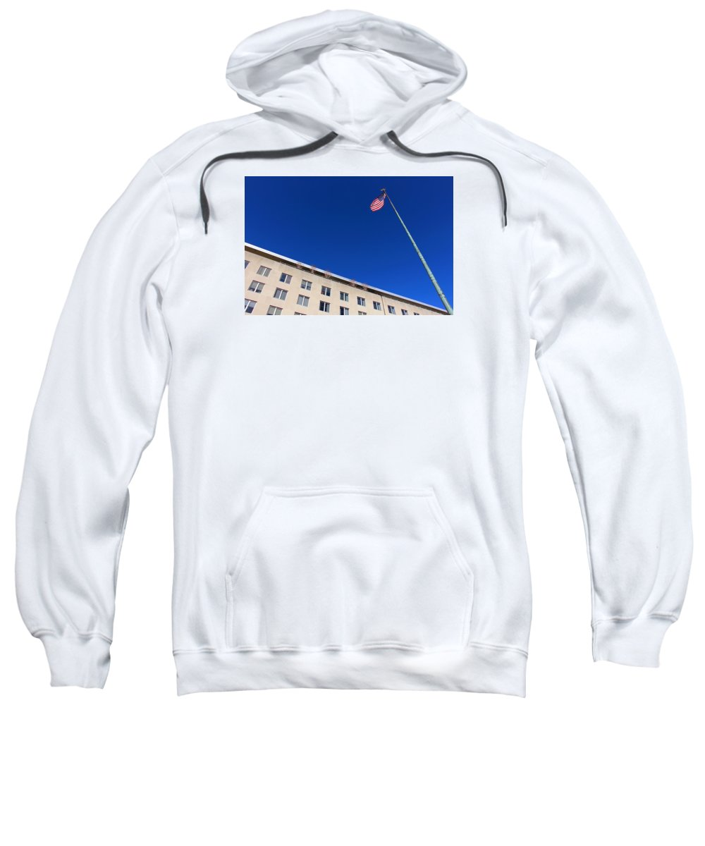 State Sweatshirt featuring the photograph The American Flag At The United States Department Of State by Cora Wandel