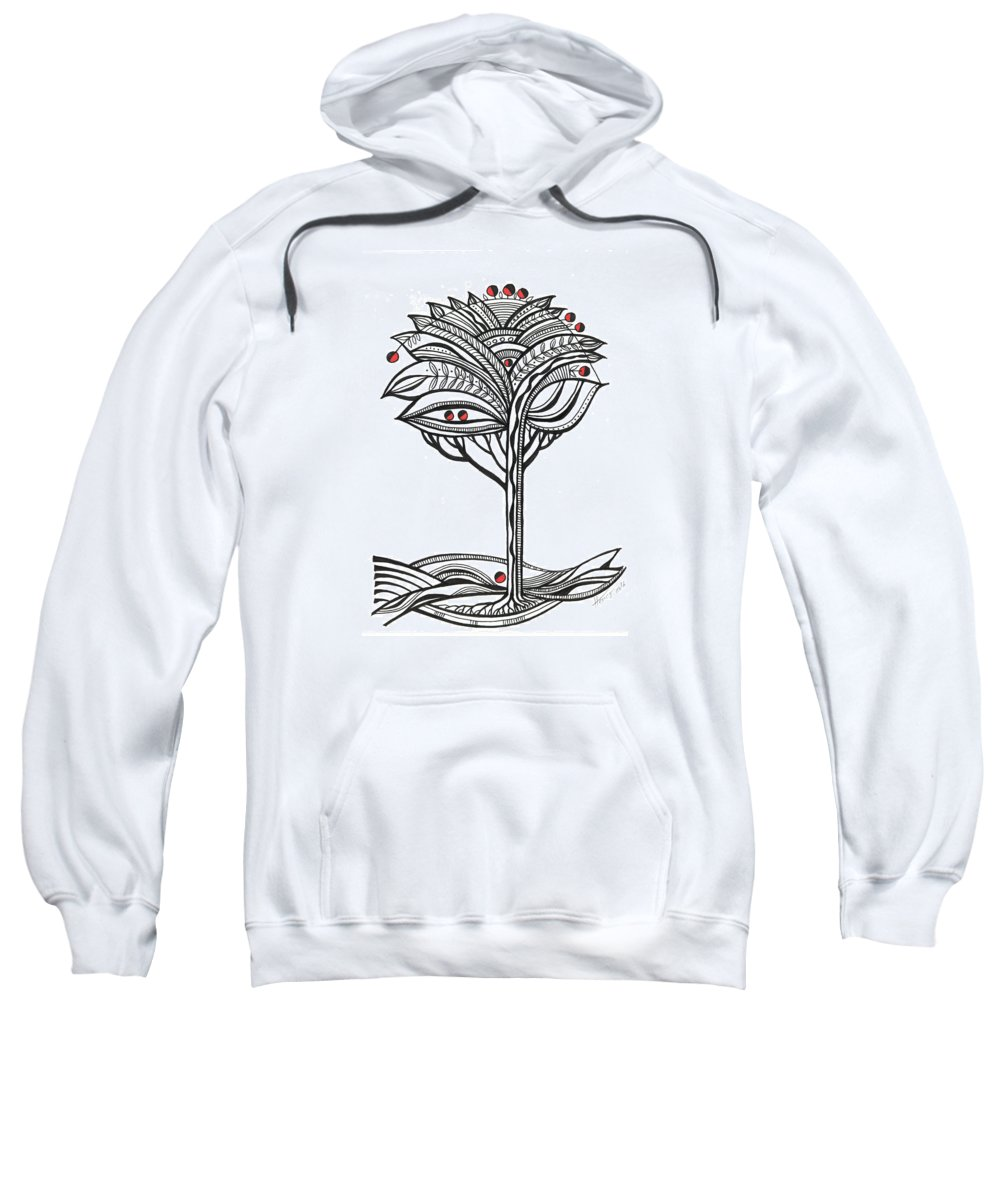 Abstract Sweatshirt featuring the drawing The Apple Tree by Aniko Hencz