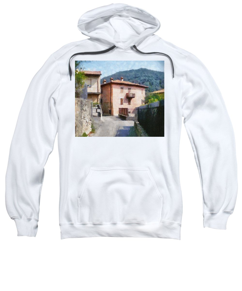 Alps Sweatshirt featuring the painting The Back Street Towards Home by Jeffrey Kolker