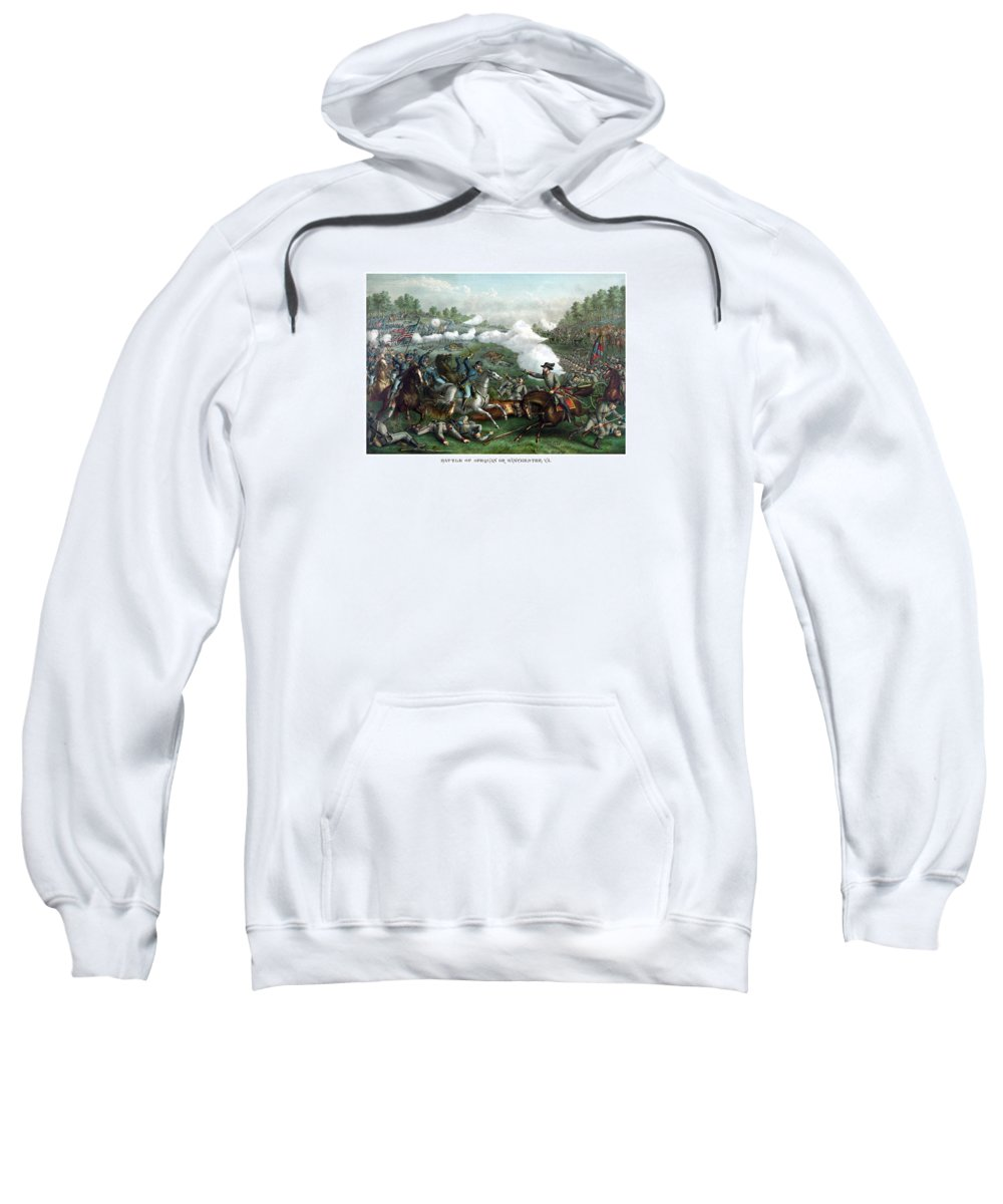 Civil War Sweatshirt featuring the painting The Battle Of Winchester by War Is Hell Store