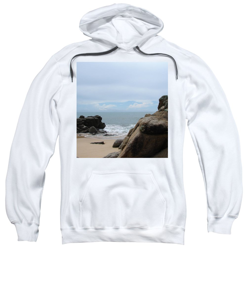 Sand Ocean Clouds Blue Sky Rocks Sweatshirt featuring the photograph The Beach 2 by Luciana Seymour