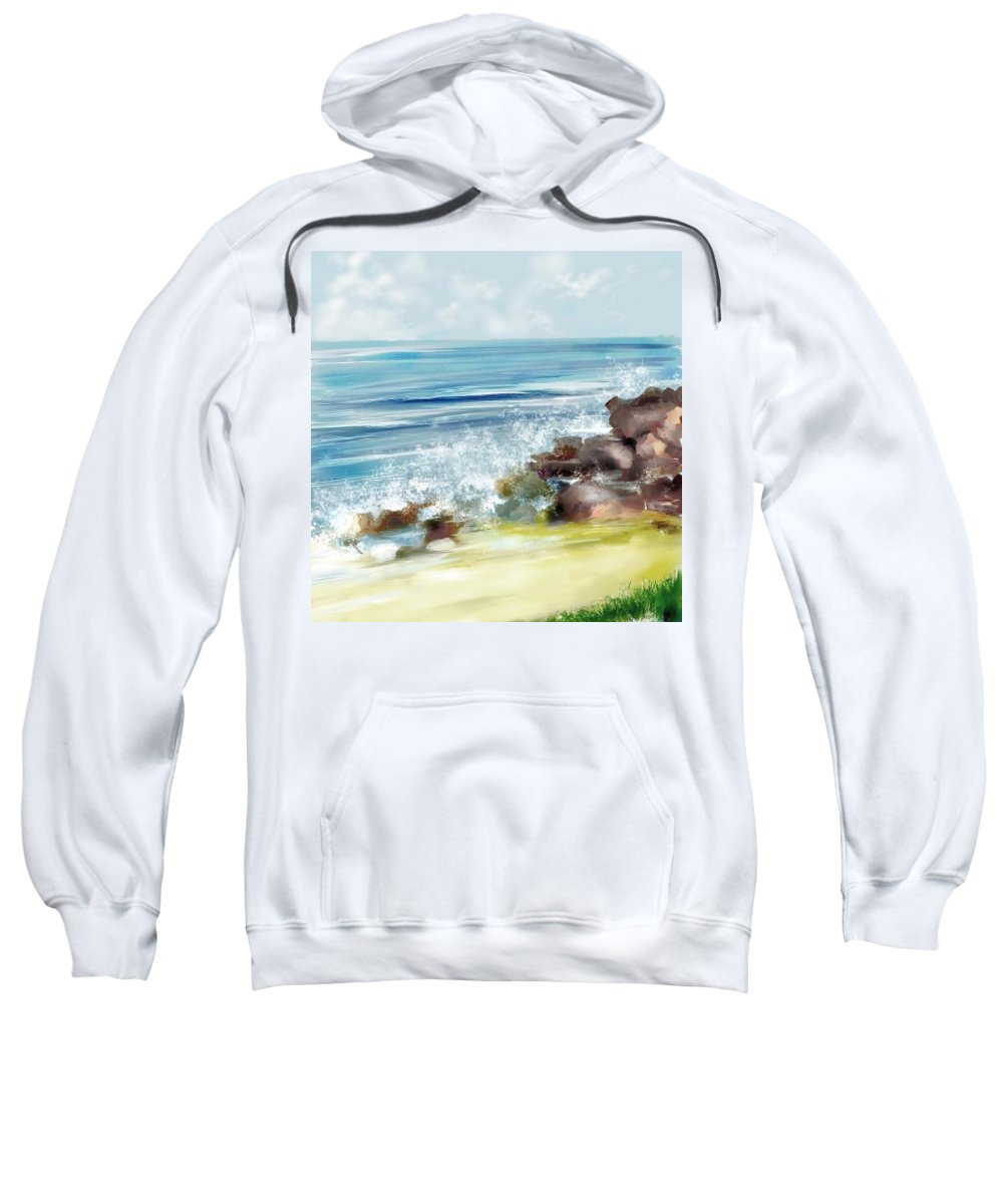 Beach Ocean Water Summer Waves Splash Sweatshirt featuring the digital art The Beach by Veronica Jackson