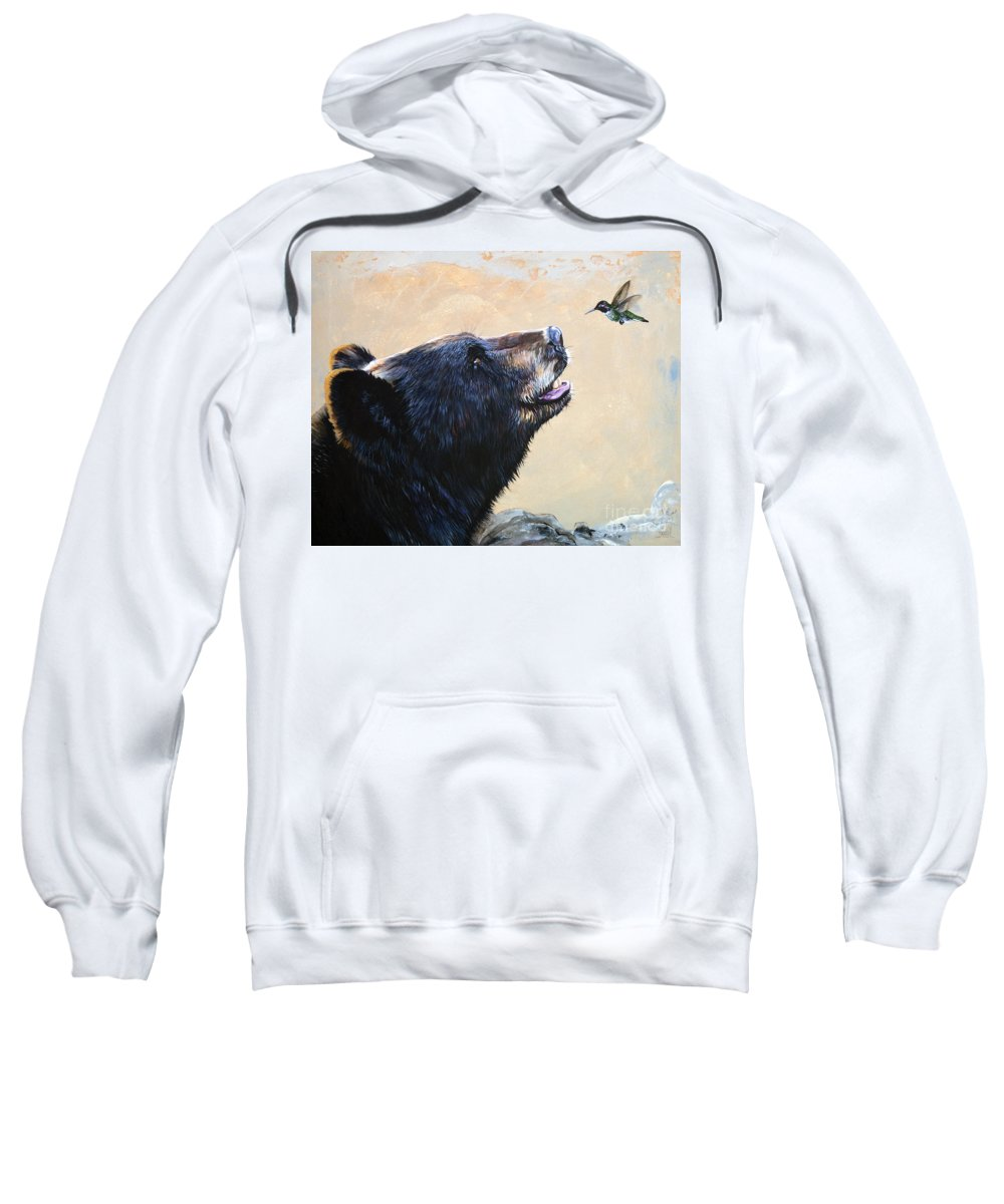 Bear Sweatshirt featuring the painting The Bear and the Hummingbird by J W Baker