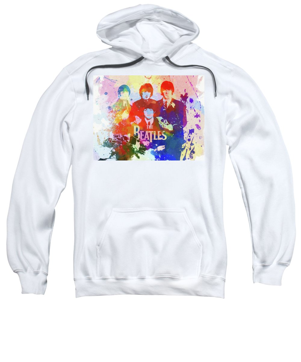 The Beatles Watercolor Sweatshirt featuring the painting The Beatles Paint Splatter by Dan Sproul
