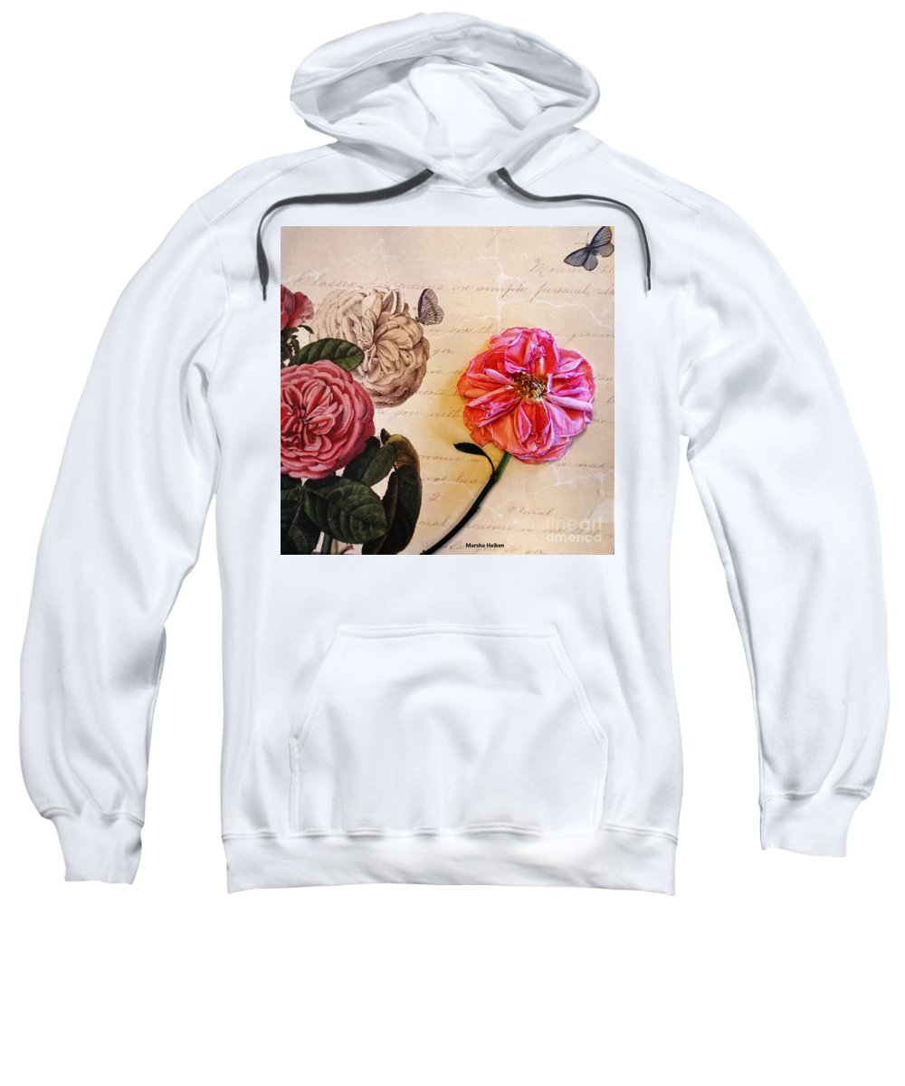 Photograph Sweatshirt featuring the mixed media The Beauty Of A Dried Rose by Marsha Heiken
