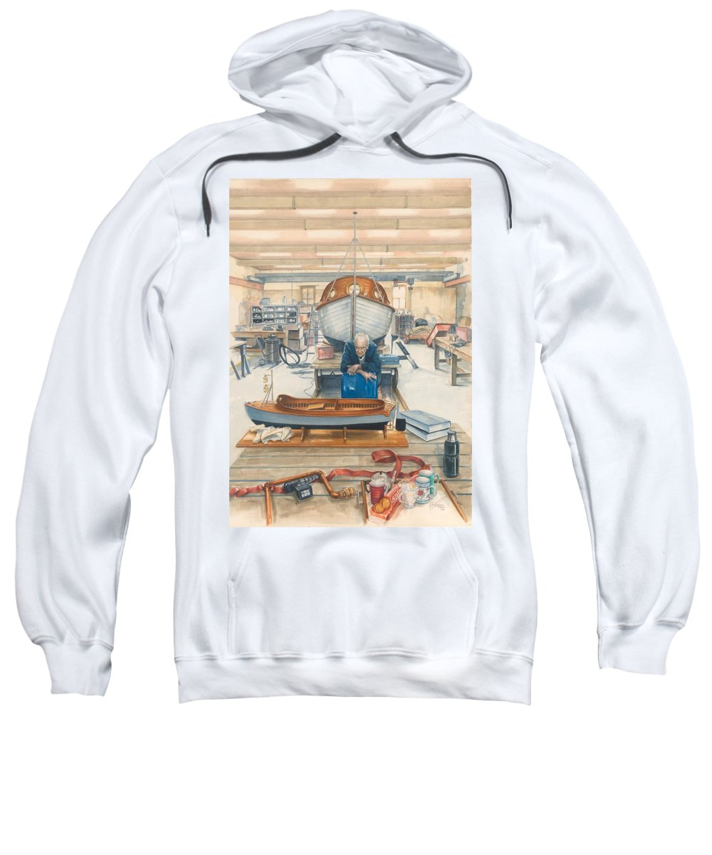 Snapper Island Sweatshirt featuring the painting The Boatman by Victoria Kitanov