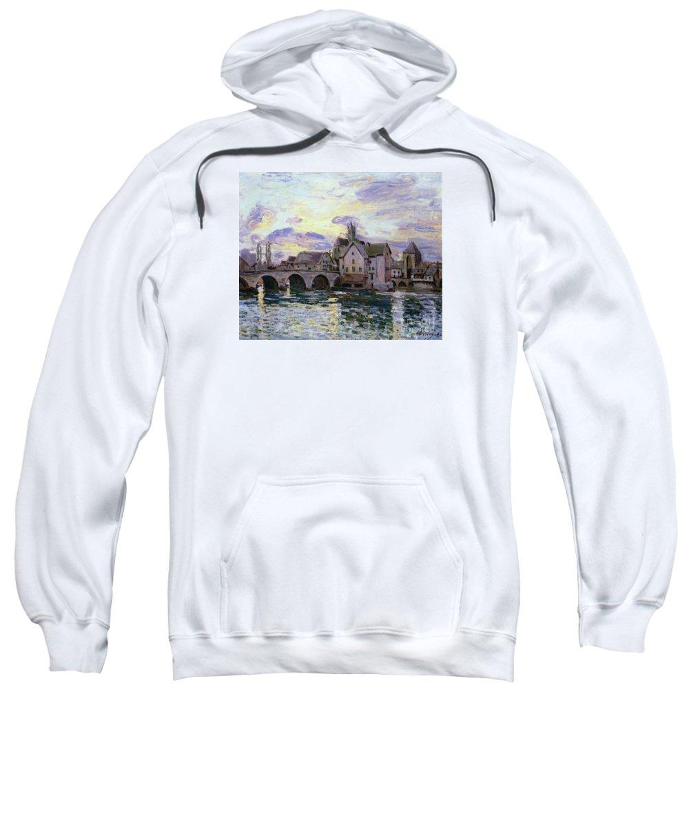 The Bridge Of Moret At Sunset Sweatshirt featuring the painting The Bridge Of Moret At Sunset by MotionAge Designs