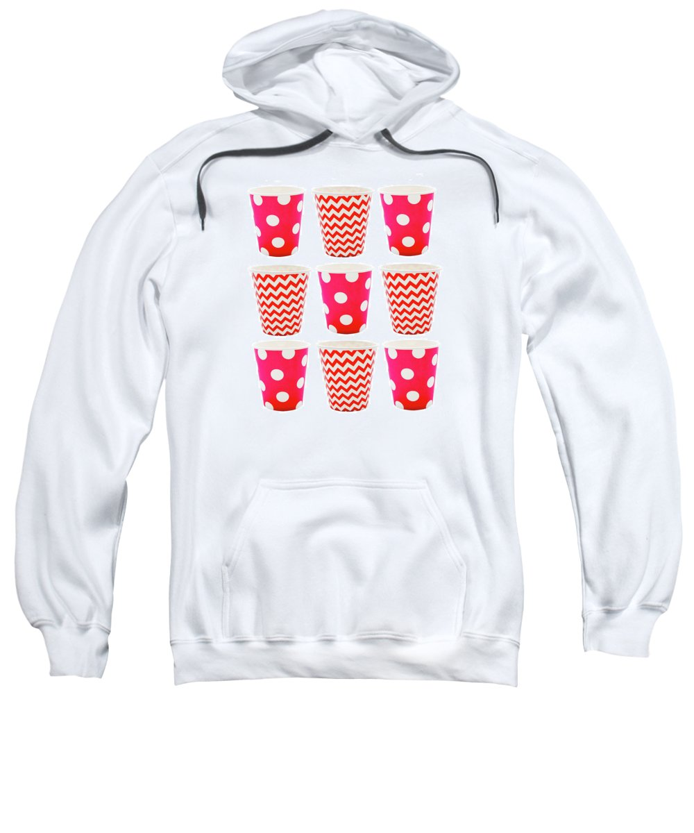 Background Sweatshirt featuring the photograph the Card with Red paper disposable glass in polka dot and zigzag isolated on white with copy space by Elena Rostunova