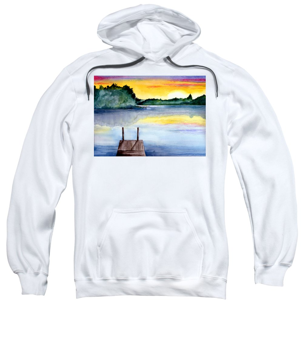 Watercolor Sweatshirt featuring the painting The Dock by Brenda Owen