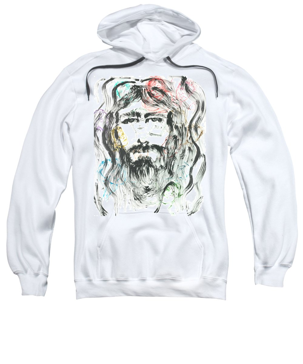 Jesus Sweatshirt featuring the painting The Emotions of Jesus by Nadine Rippelmeyer