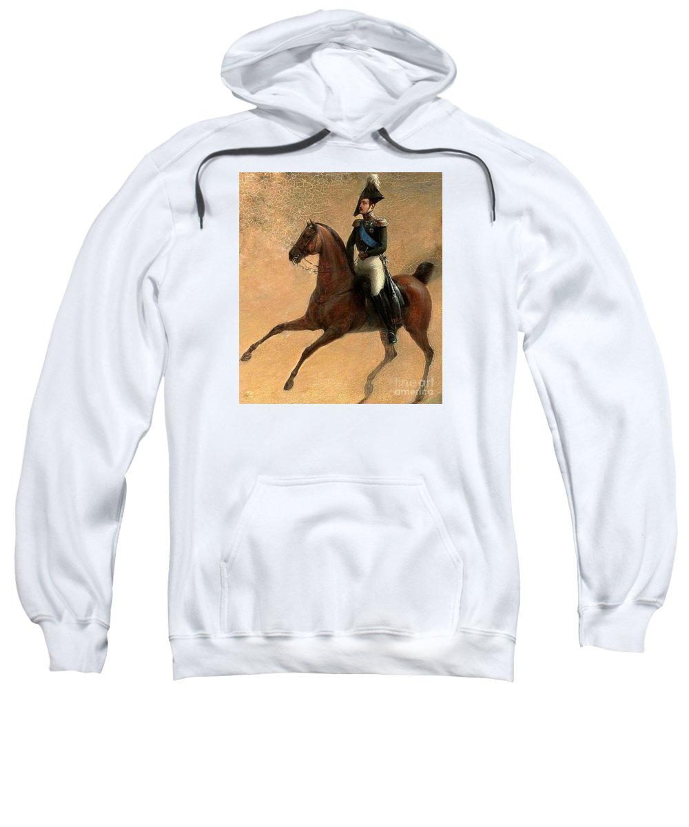 The Emperor Nikolai I Of Russia Sweatshirt featuring the painting The Emperor Nikolai I Of Russia by MotionAge Designs