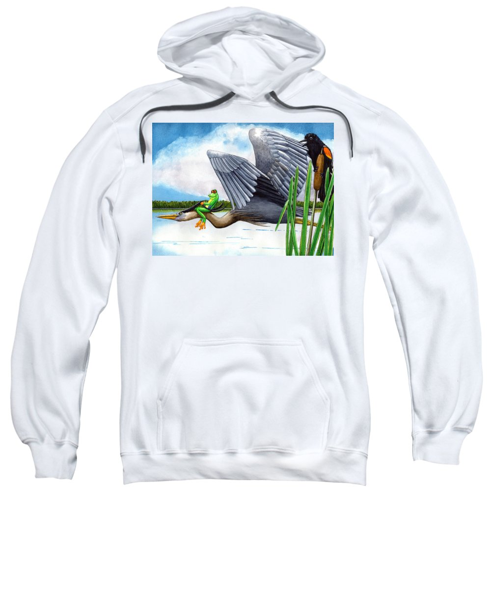 Birds Sweatshirt featuring the painting The Fly By by Catherine G McElroy