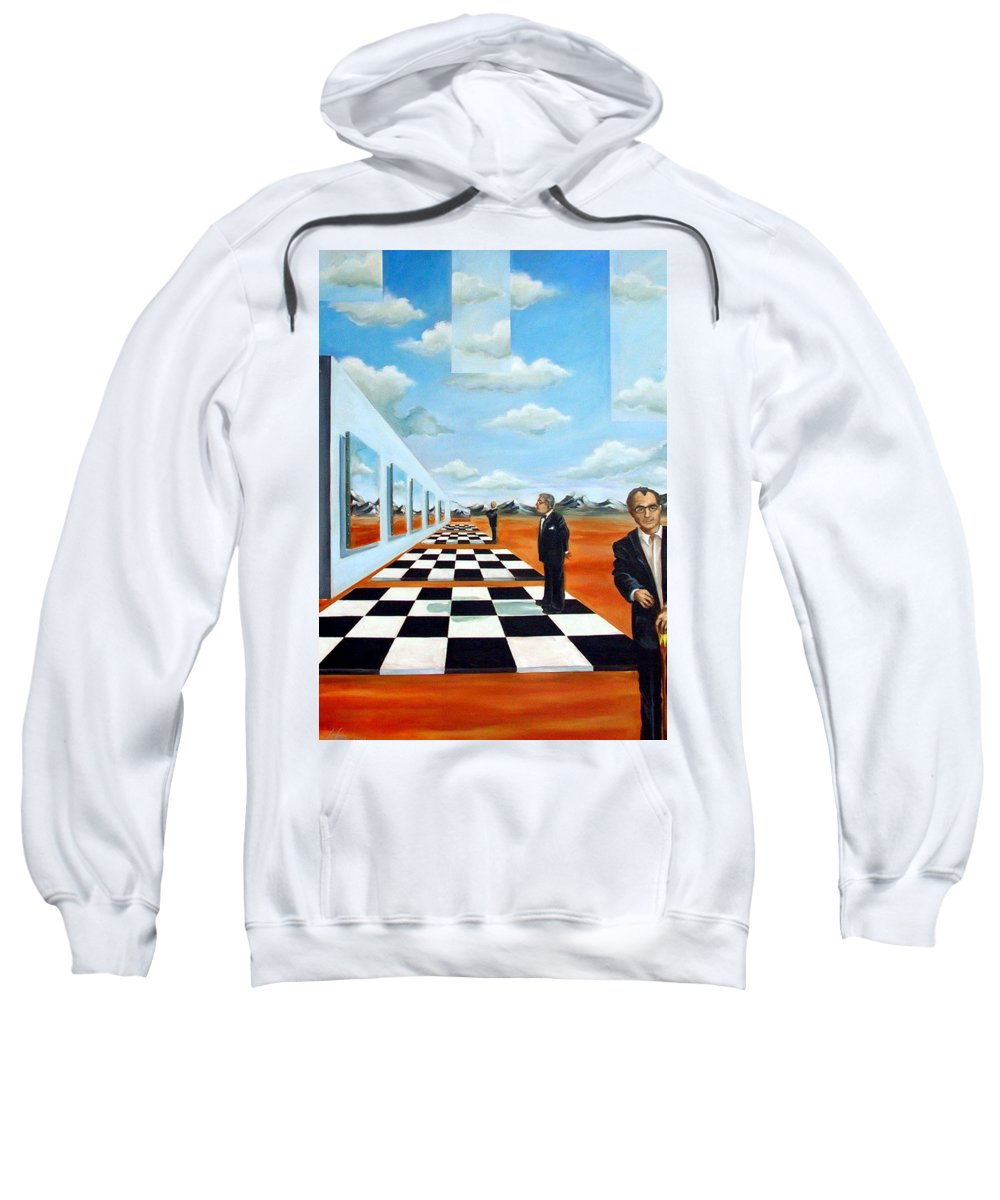 Surreal Sweatshirt featuring the painting The Gallery by Valerie Vescovi