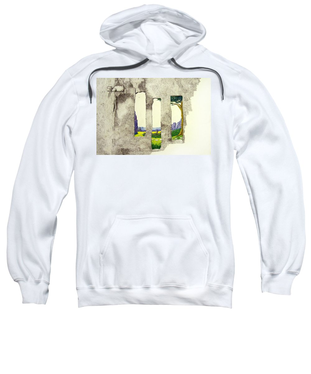 Imaginary Landscape. Sweatshirt featuring the painting The Garden by A Robert Malcom