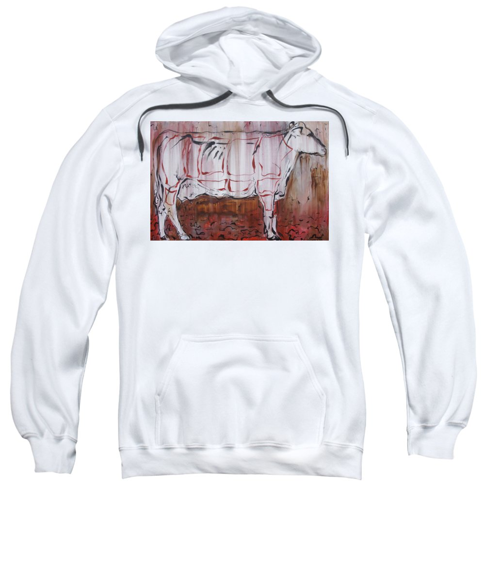 Cow Sweatshirt featuring the painting The Giver by Julie Fischer