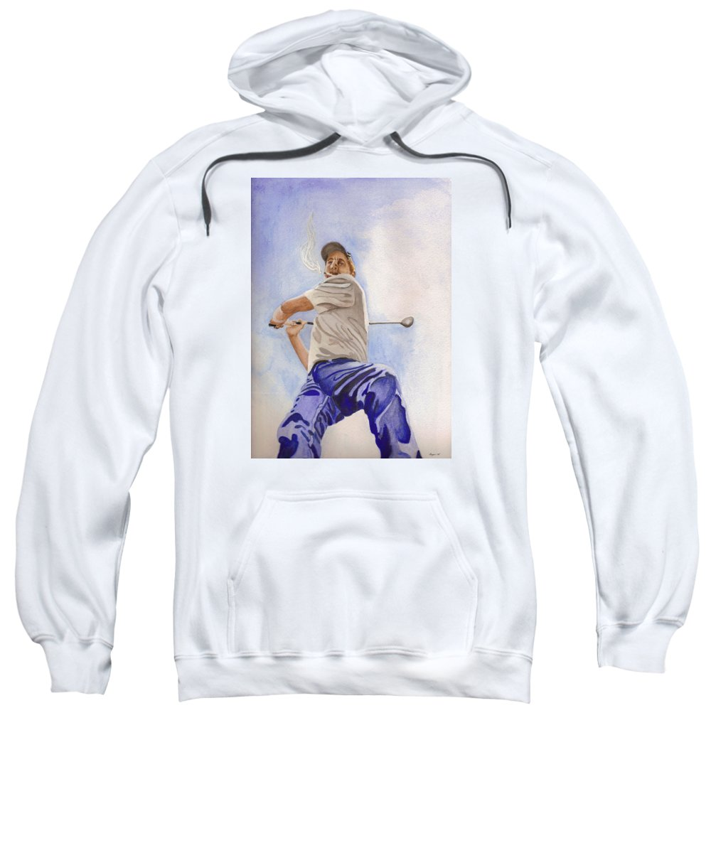 Figure Sweatshirt featuring the painting The Golfer by Lois Boyce