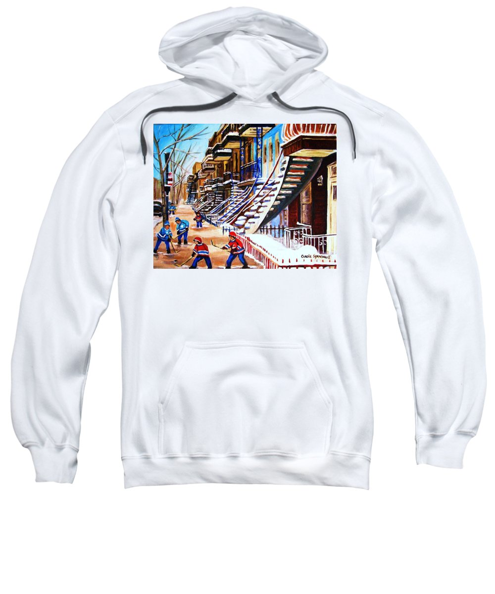 Hockey Sweatshirt featuring the painting The Gray Staircase by Carole Spandau