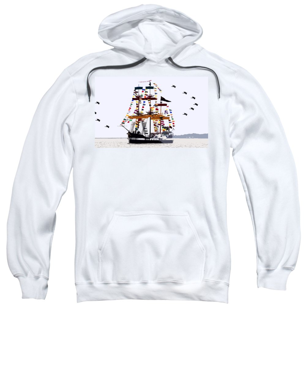 Gasparilla Sweatshirt featuring the painting The Great Ship Gasparilla by David Lee Thompson