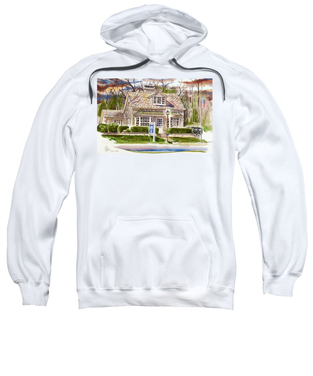 The Greystone Inn In Brigadoon Sweatshirt featuring the painting The Greystone Inn In Brigadoon by Kip DeVore