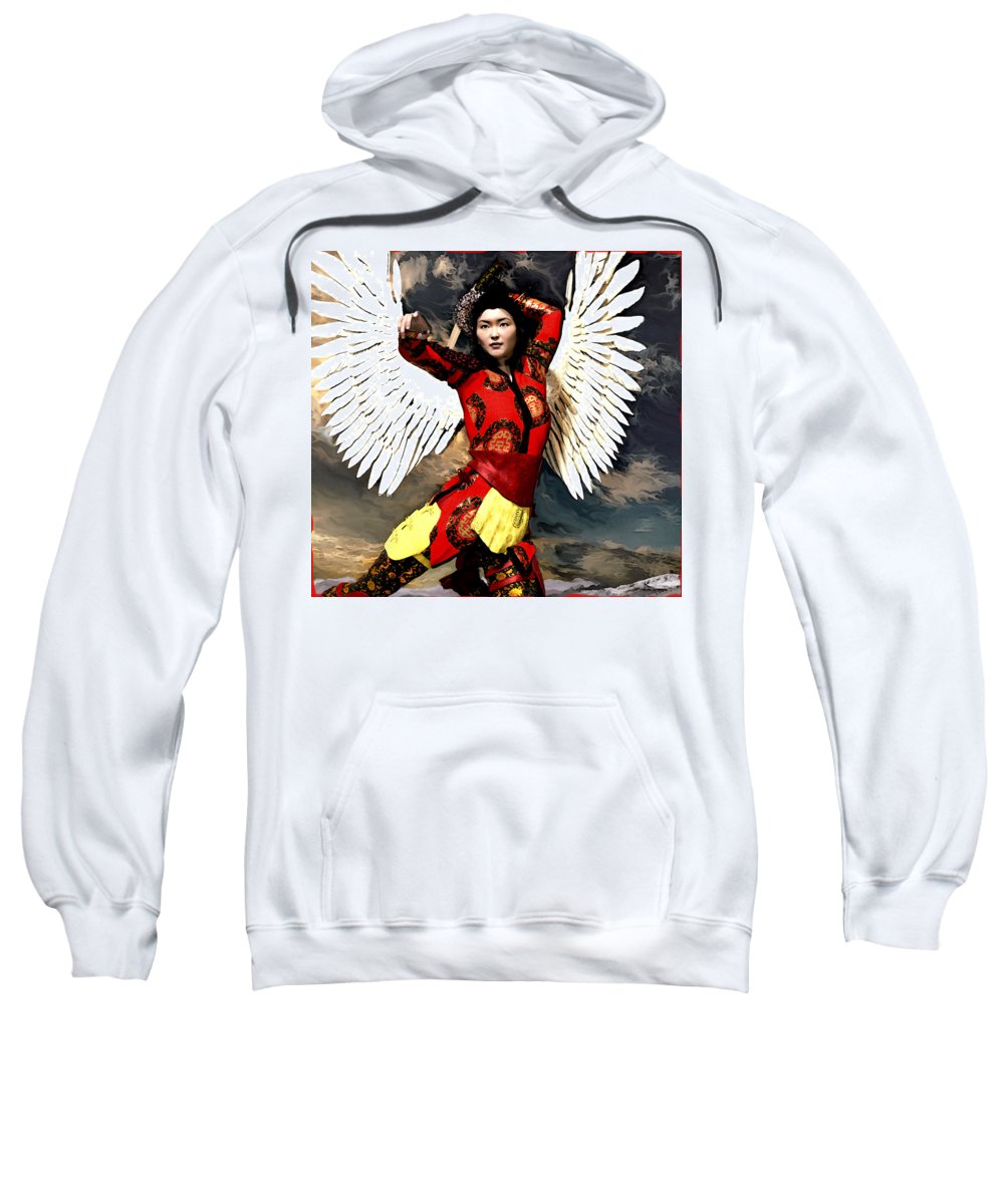 Asian Angel Sweatshirt featuring the painting The Guardian by Suzanne Silvir