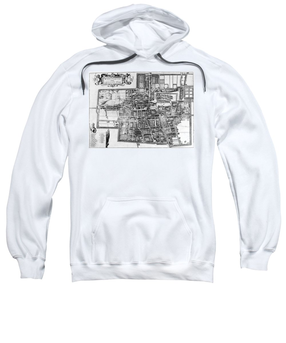 1650 Sweatshirt featuring the photograph The Hague: Map, C1650 by Granger