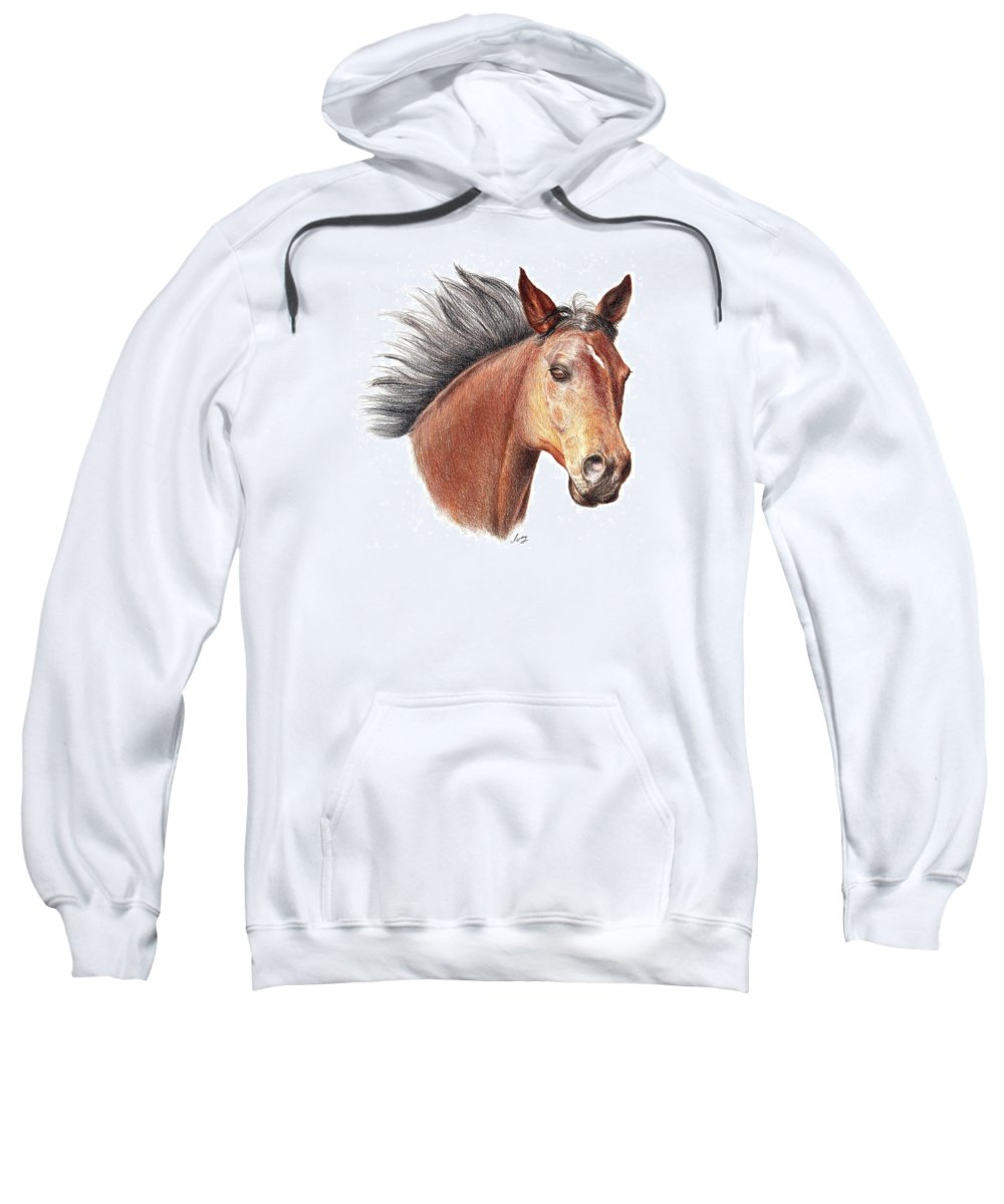 Portraits Sweatshirt featuring the drawing The Horse by Mike Ivey