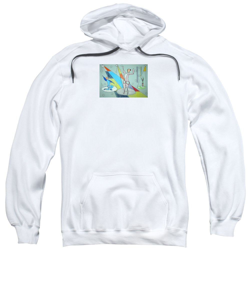 Juggling Sweatshirt featuring the drawing The Jugglers by J R Seymour
