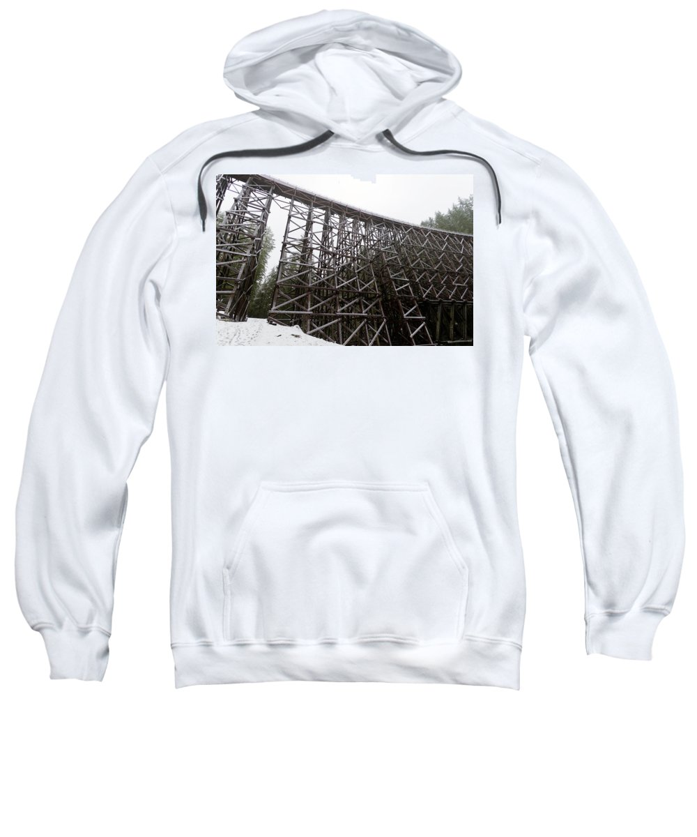 Island Sweatshirt featuring the photograph The Koksilah River Trestle With Snow 1. by Andrew Kim