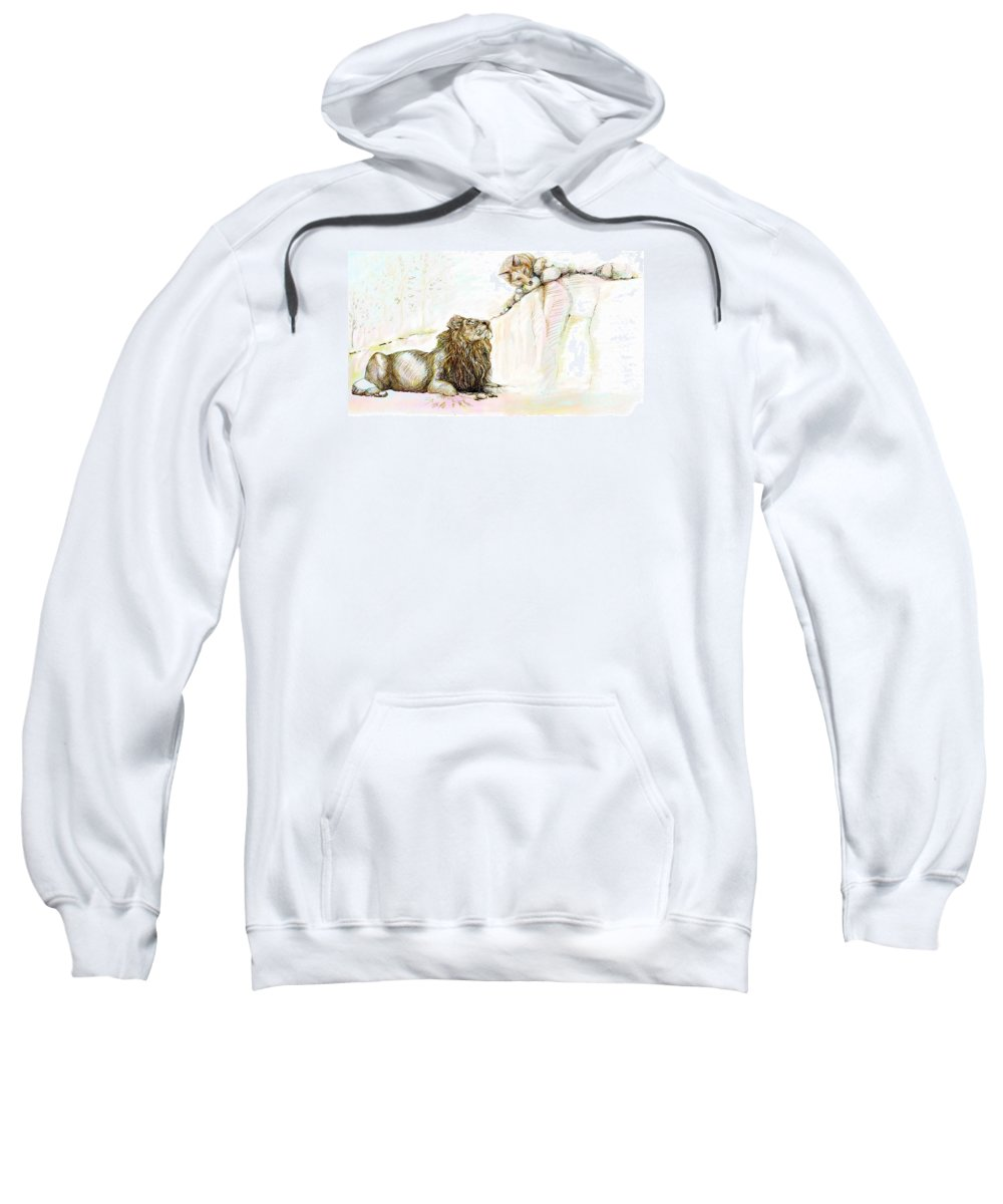 Lion Sweatshirt featuring the painting The Lion And The Fox 1 - The First Meeting by Sukalya Chearanantana