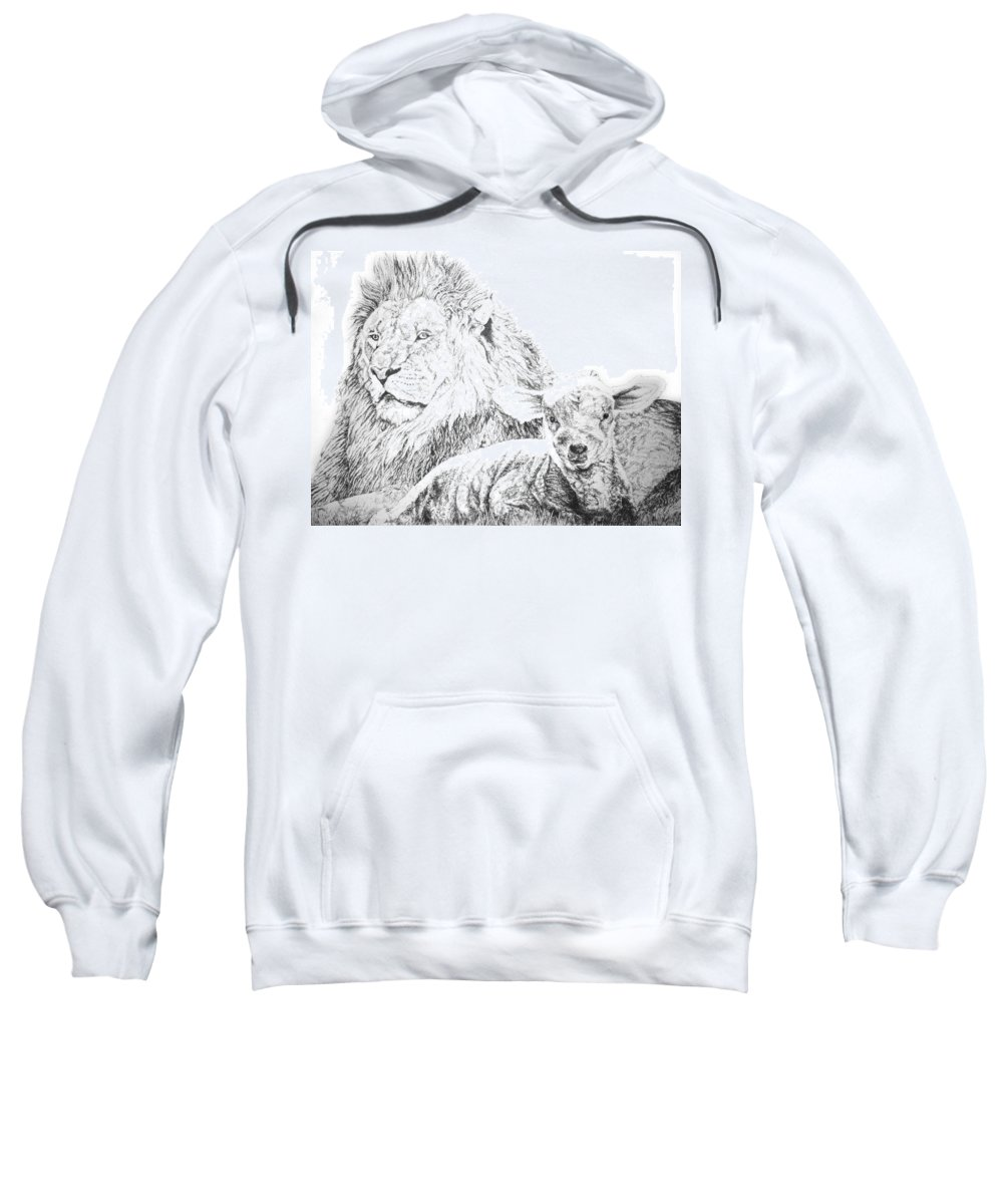 Lion Sweatshirt featuring the drawing The Lion And The Lamb by Bryan Bustard