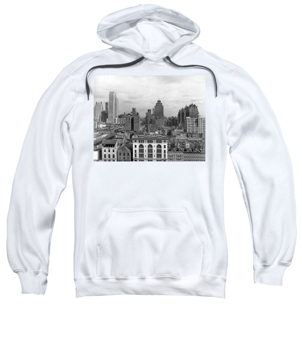 1930s Sweatshirt featuring the photograph The Manhattan Skyline by Underwood Archives