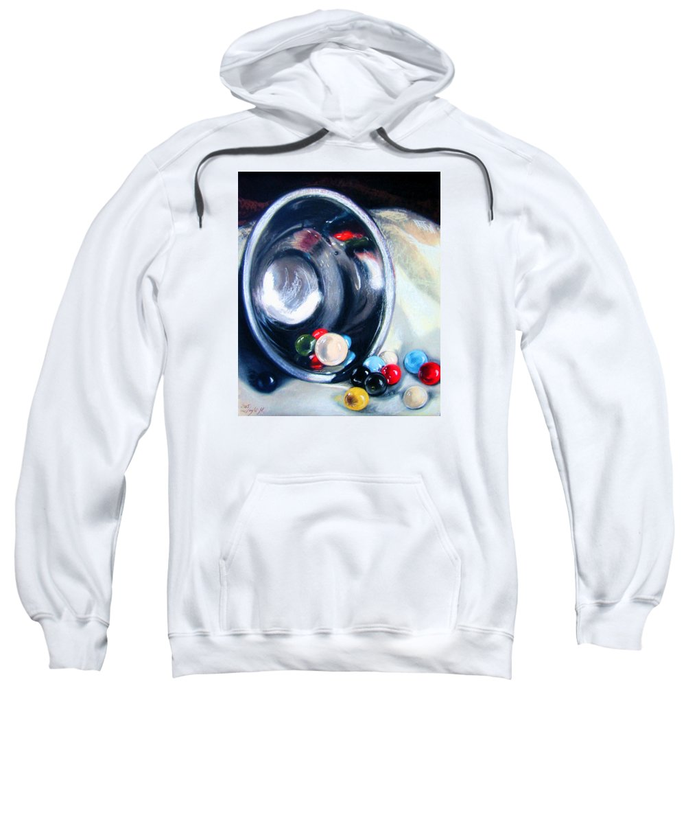 Marbles Sweatshirt featuring the pastel The Marble Bowl by Leyla Munteanu