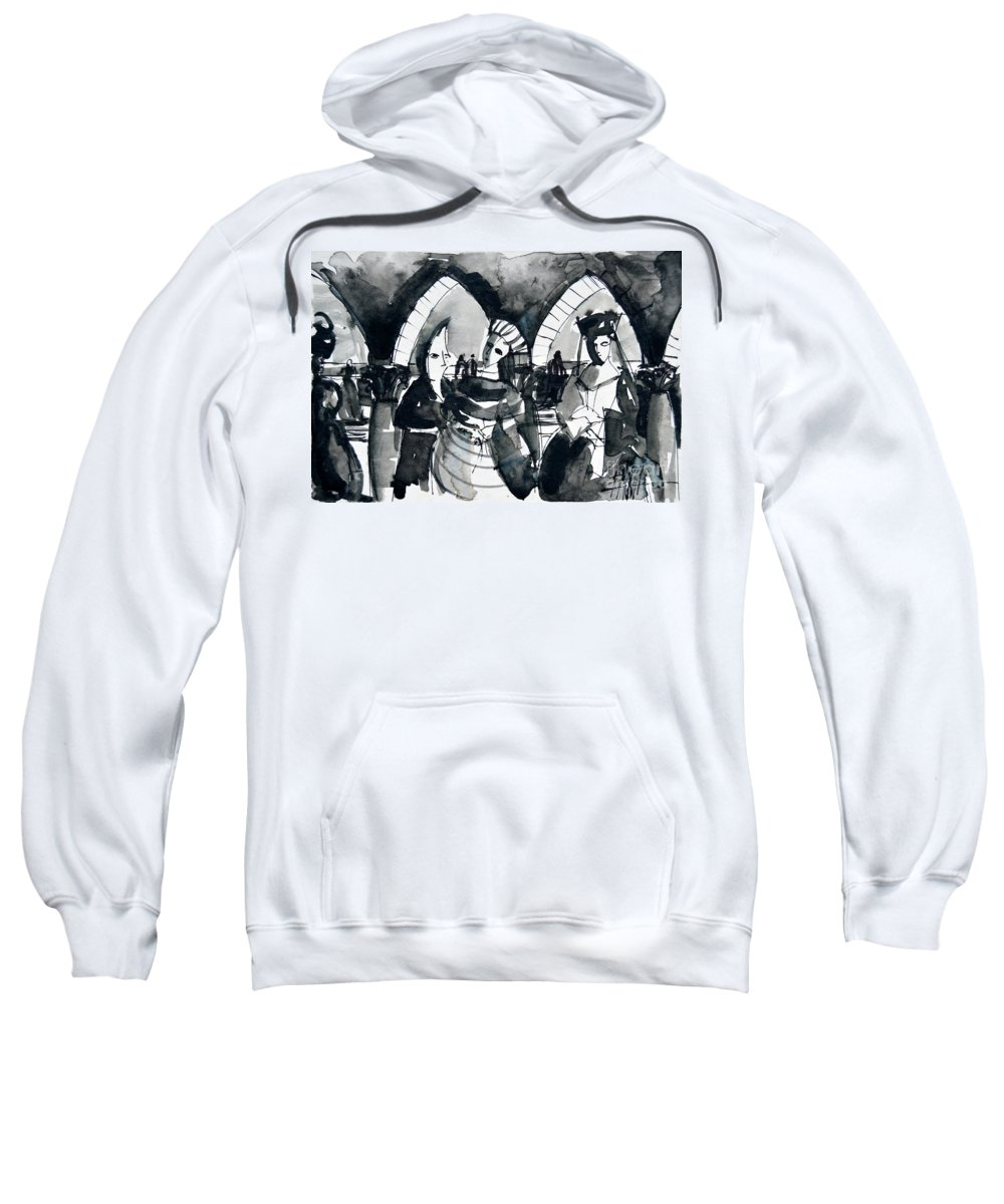 The Meeting Sweatshirt featuring the painting The Meeting - Venice Carnival by Mona Edulesco