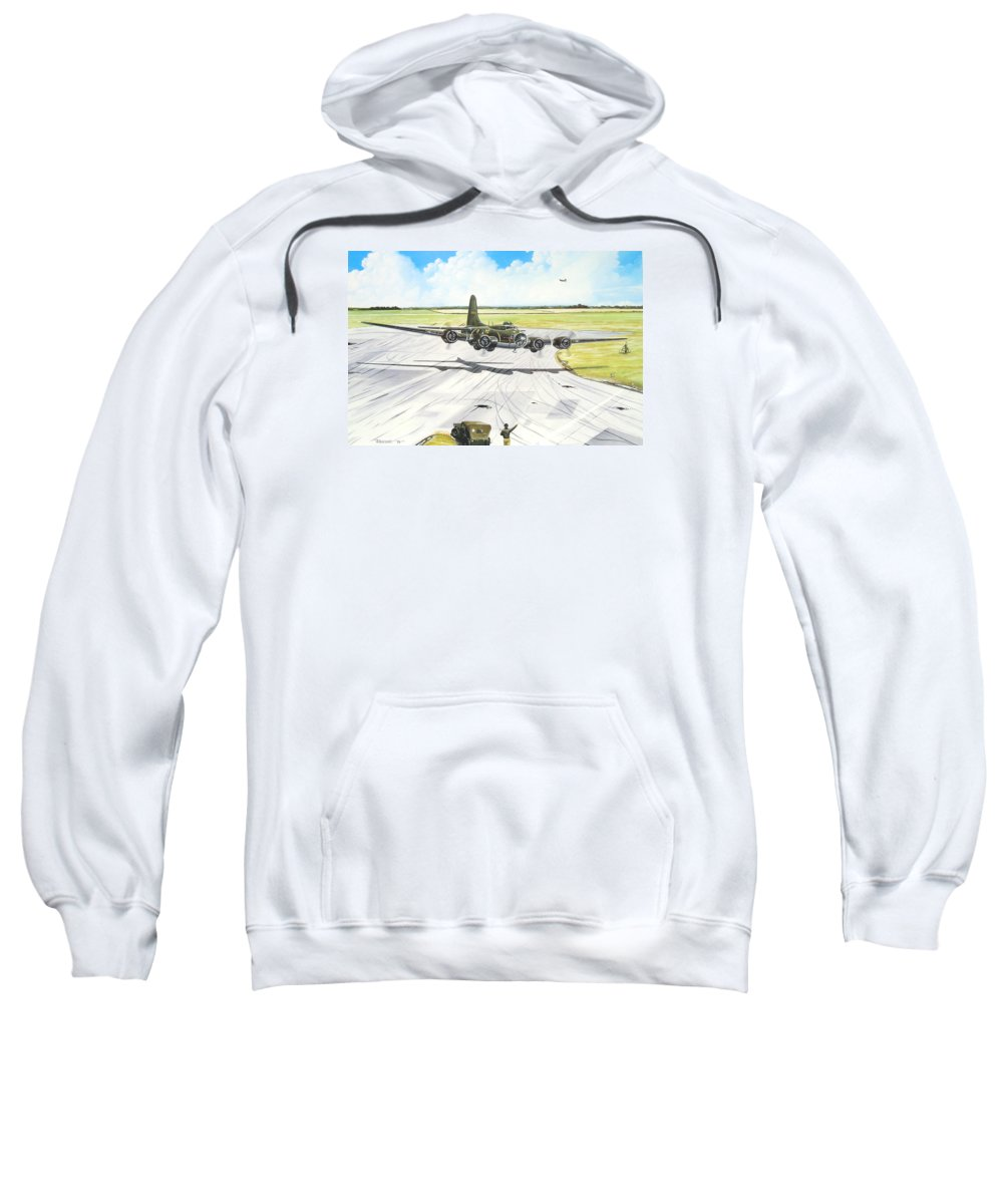 Military Sweatshirt featuring the painting The Memphis Belle by Marc Stewart