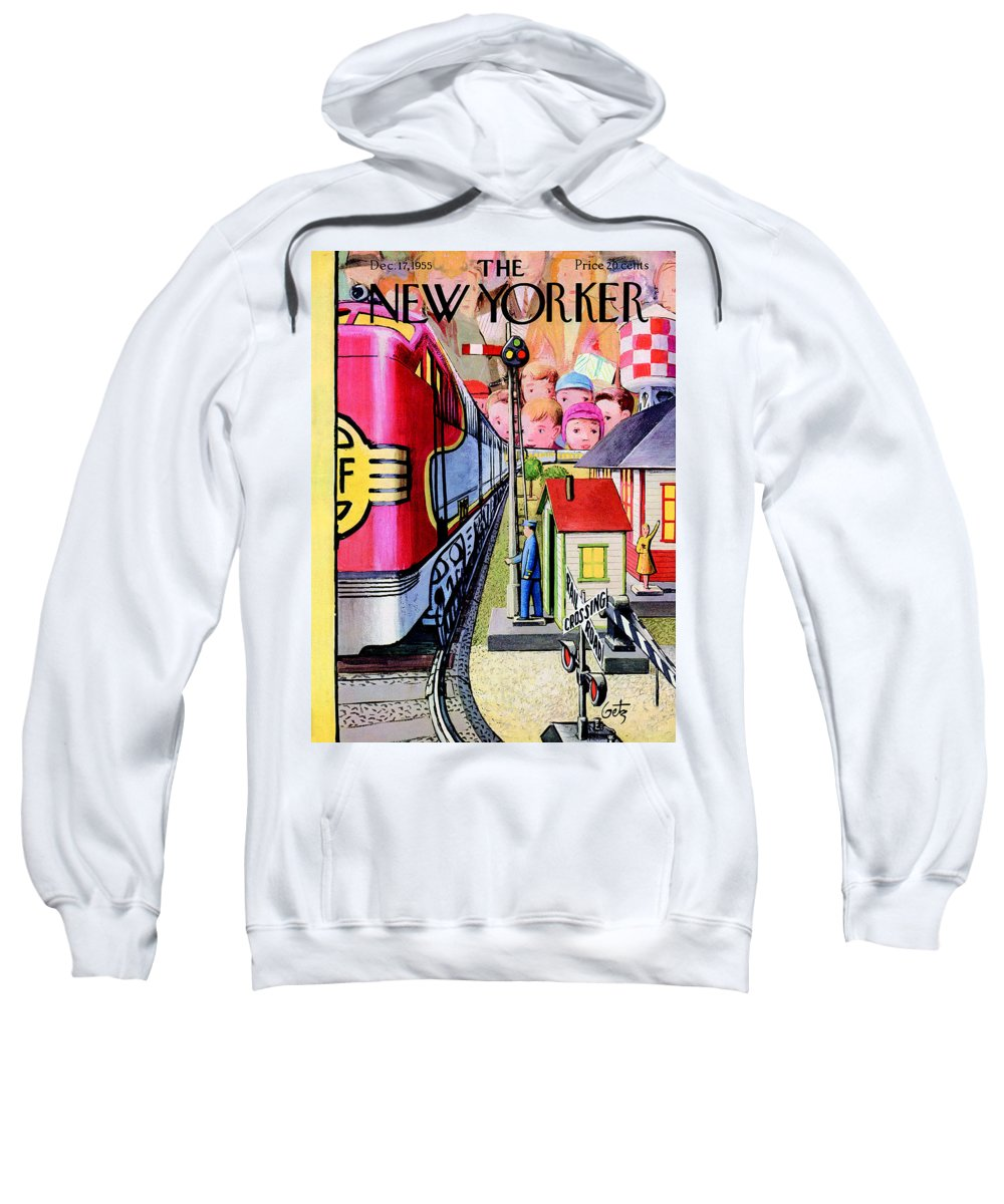 Train Sweatshirt featuring the painting New Yorker December 17th, 1955 by Arthur Getz