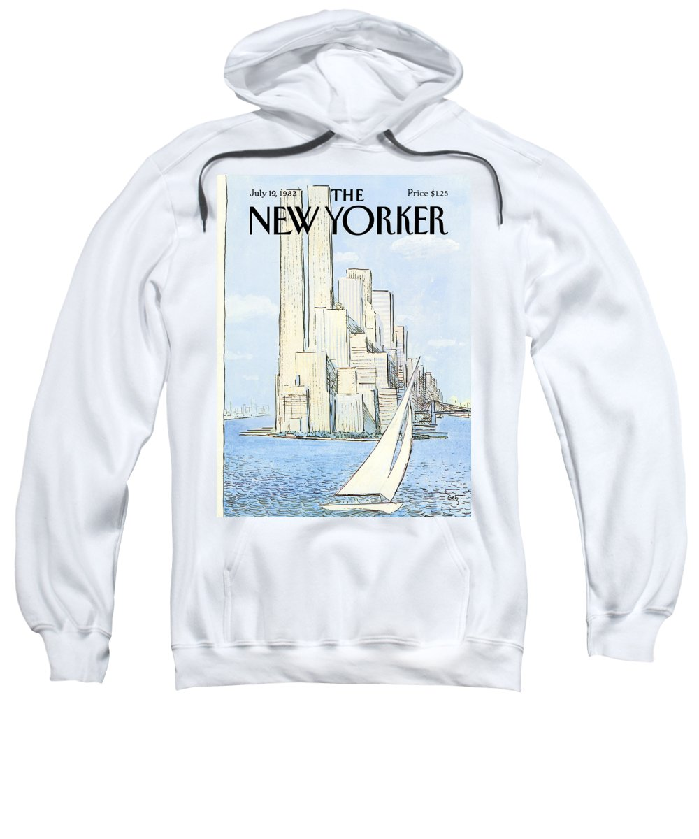 Regional Sweatshirt featuring the painting The New Yorker Cover - July 19th, 1982 by Arthur Getz