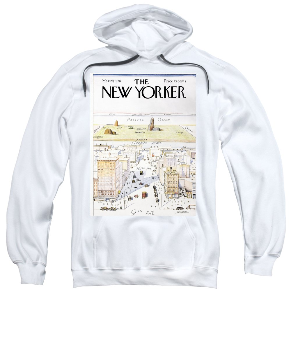 Saul Sweatshirt featuring the photograph View From 9th Avenue by Saul Steinberg
