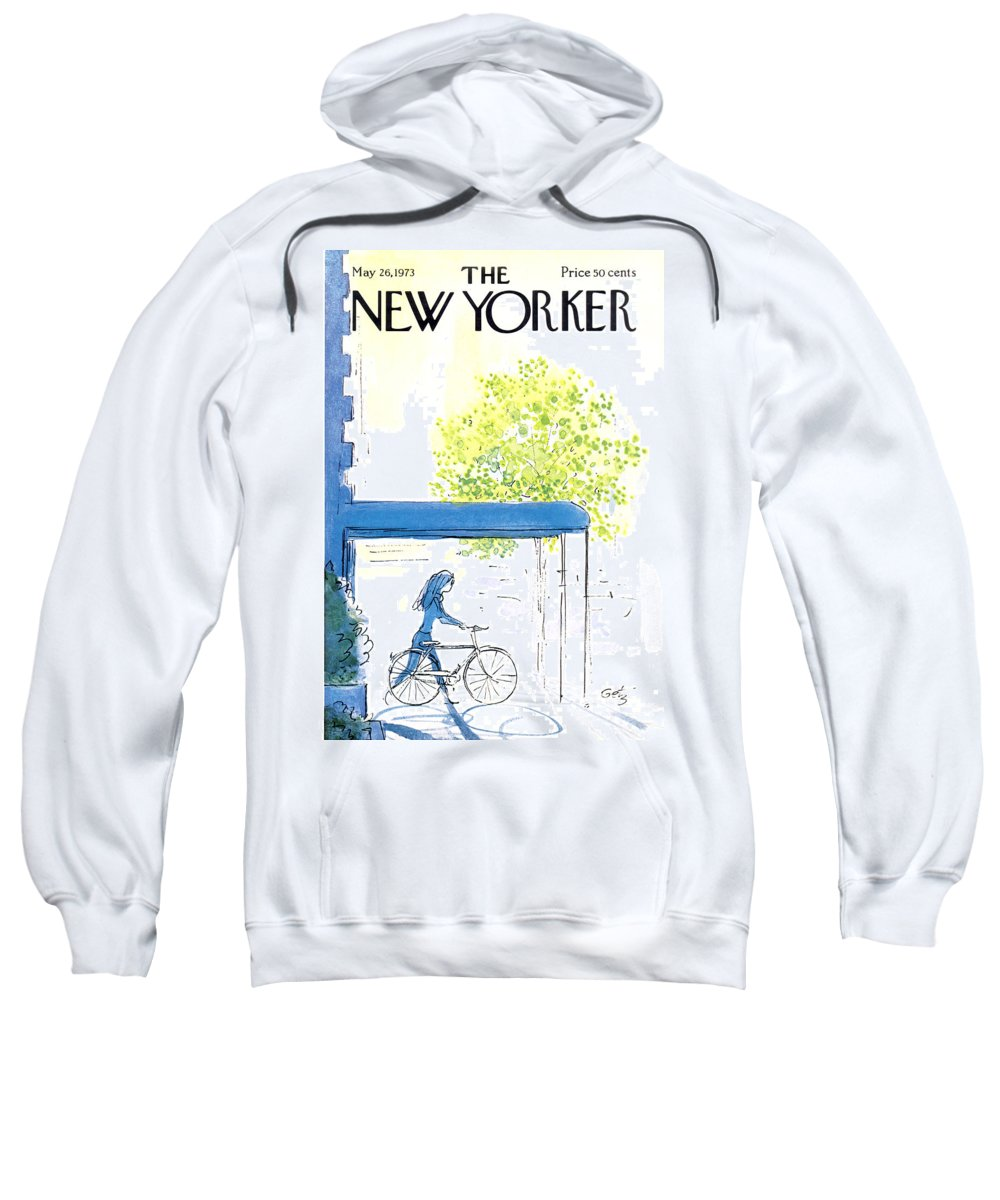 Bicycle Sweatshirt featuring the painting The New Yorker Cover - May 26th, 1973 by Arthur Getz