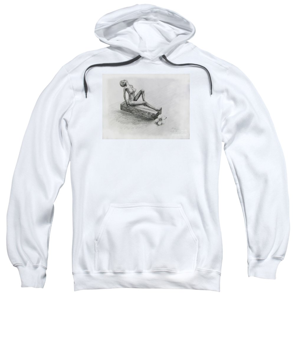 Nude Sweatshirt featuring the drawing The Nude Sculpture by Sukalya Chearanantana