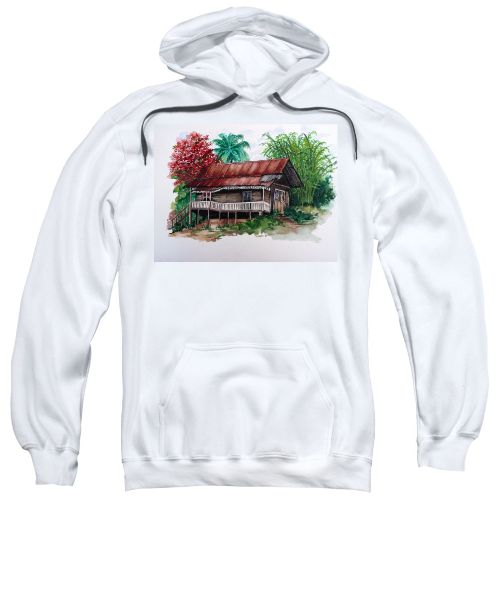 Tropical Painting Poincianna Painting Caribbean Painting Old House Painting Cocoa House Painting Trinidad And Tobago Painting  Tropical Painting Flamboyant Painting Poinciana Red Greeting Card Painting Sweatshirt featuring the painting The Old Cocoa House by Karin Dawn Kelshall- Best