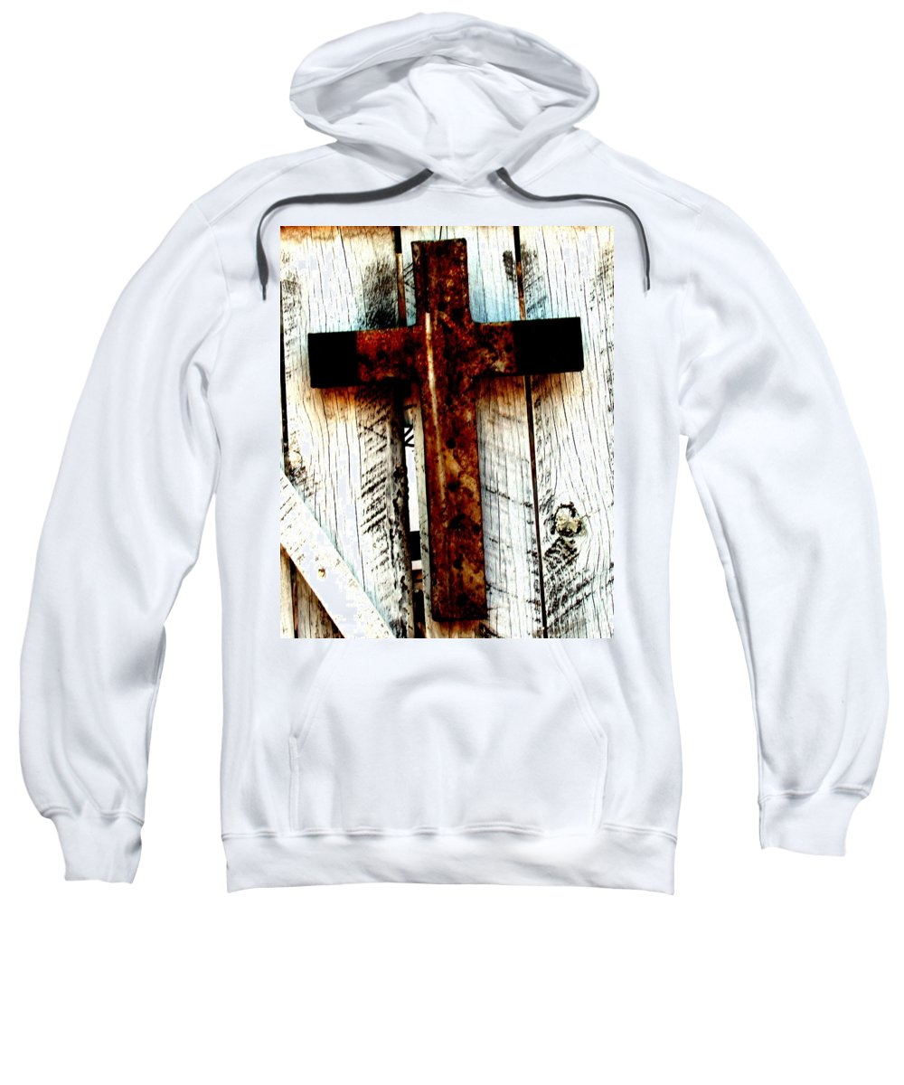 Cross Sweatshirt featuring the photograph The Old Rusted Cross by Wayne Potrafka
