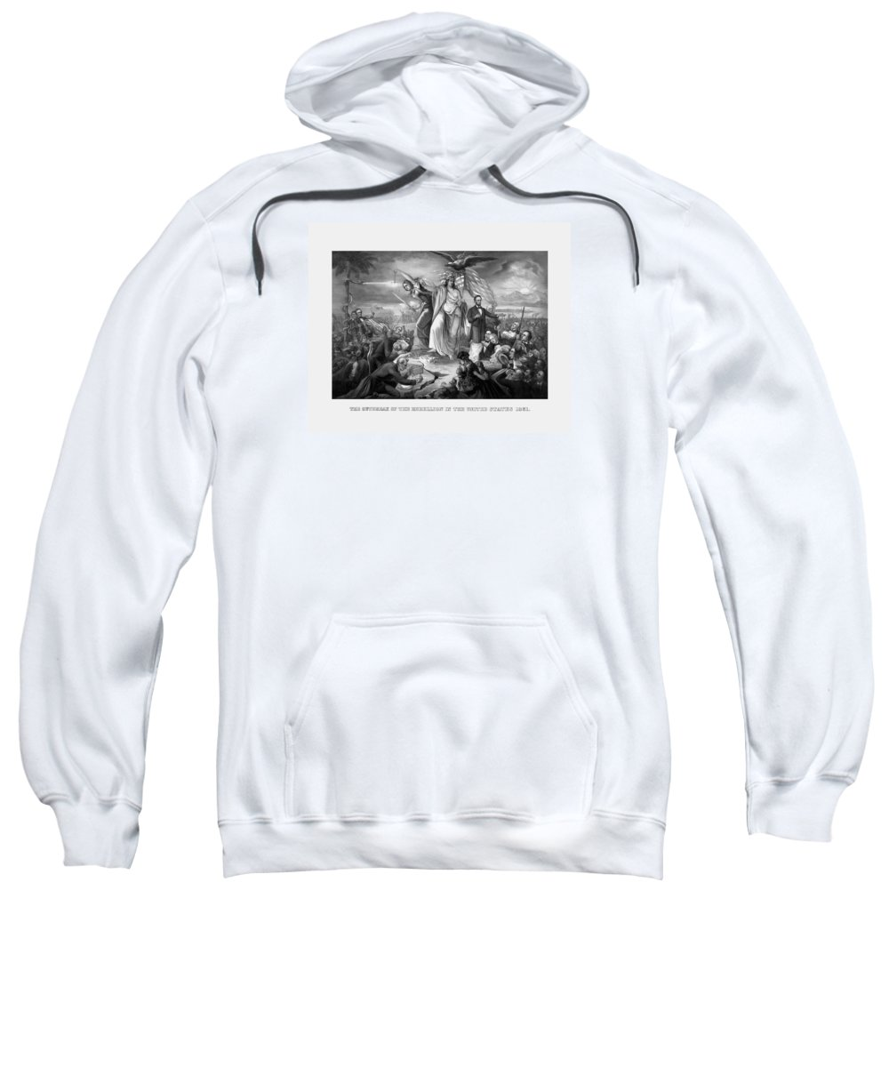 Civil War Sweatshirt featuring the drawing The Outbreak Of The Rebellion In The United States by War Is Hell Store