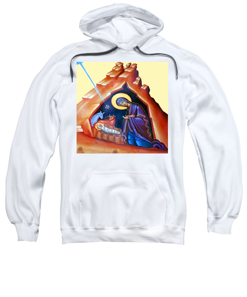 Flight Into Egypt Sweatshirt featuring the painting The Painting At Shepherds Field by Munir Alawi