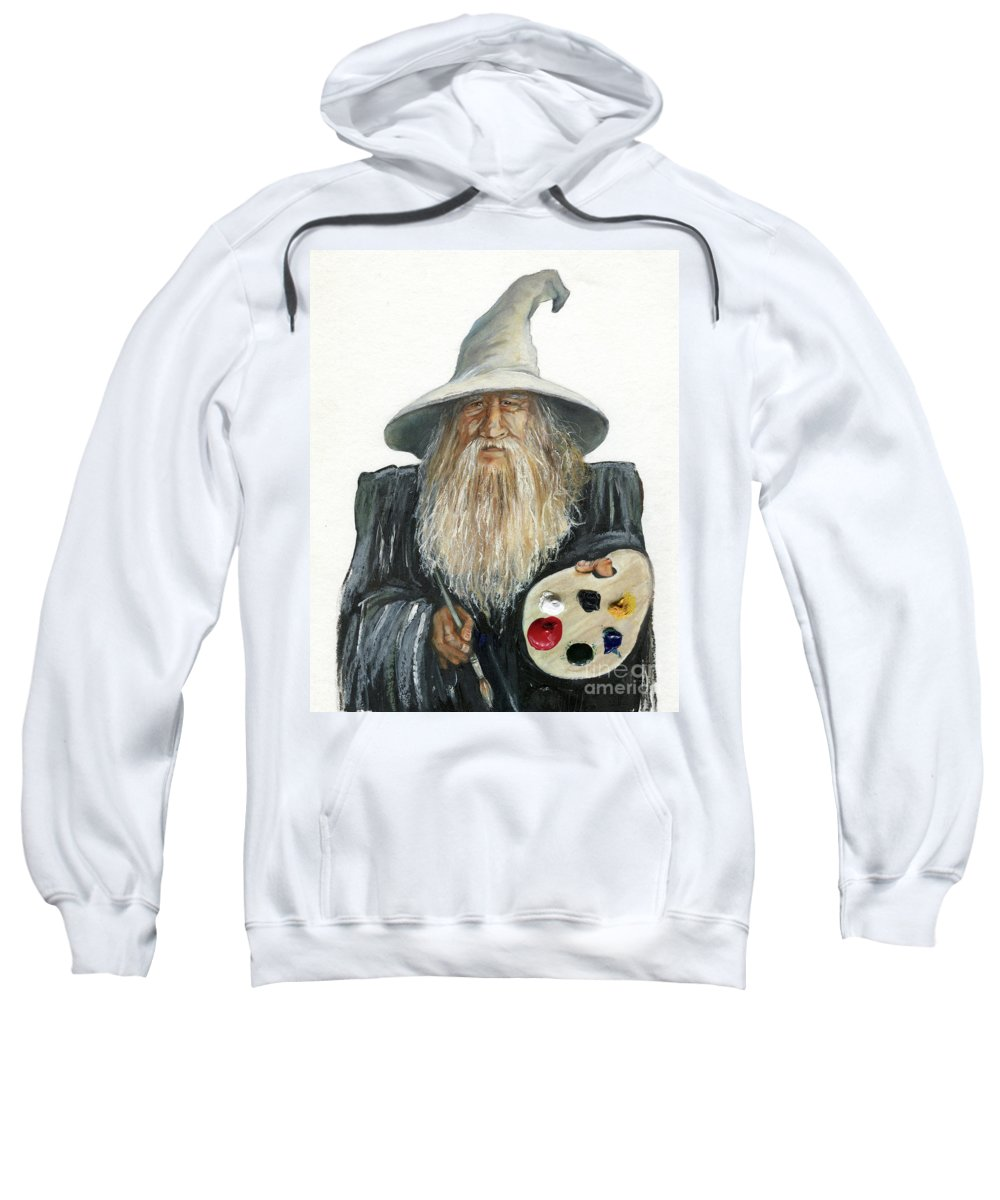 Wizard Sweatshirt featuring the painting The Painting Wizard by J W Baker