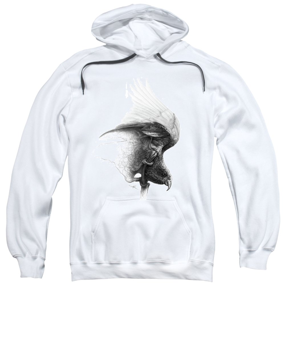 Parrot Sweatshirt featuring the drawing The Parrot by Christian Klute