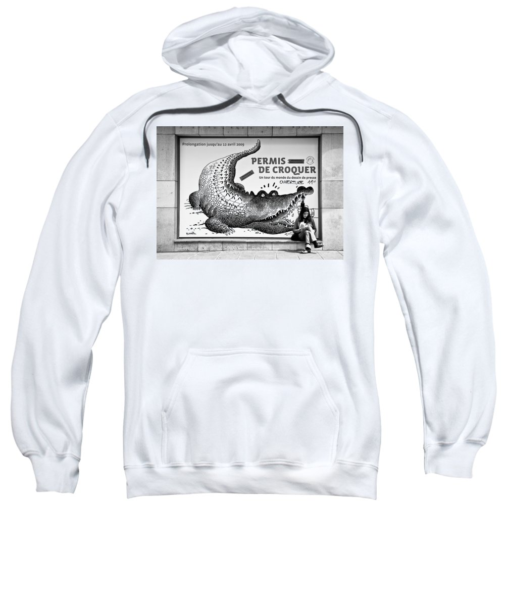 Street Photography Sweatshirt featuring the photograph The Pen Is Mightier Than... by Dave Bowman