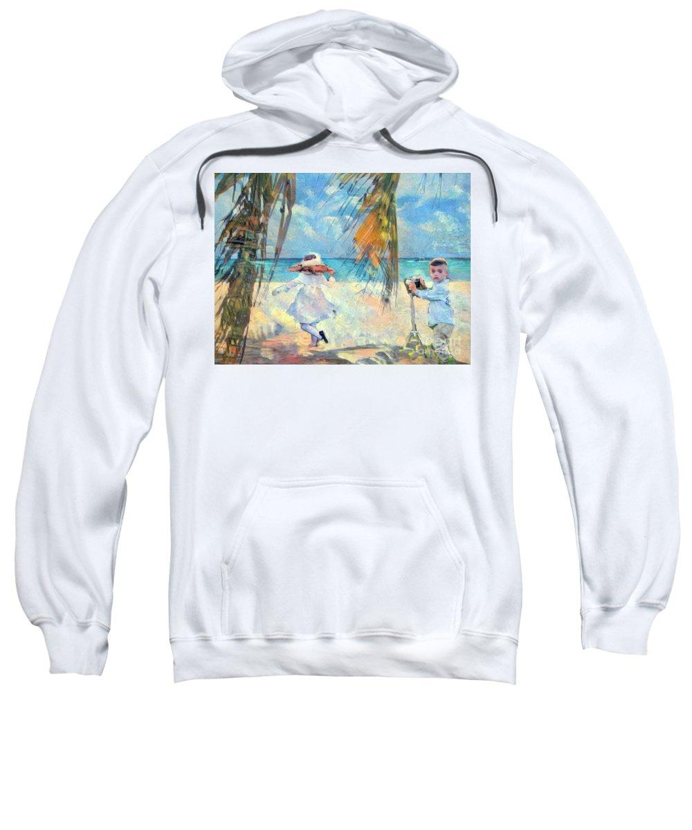 Beach Sweatshirt featuring the digital art The Photographer by Snook R