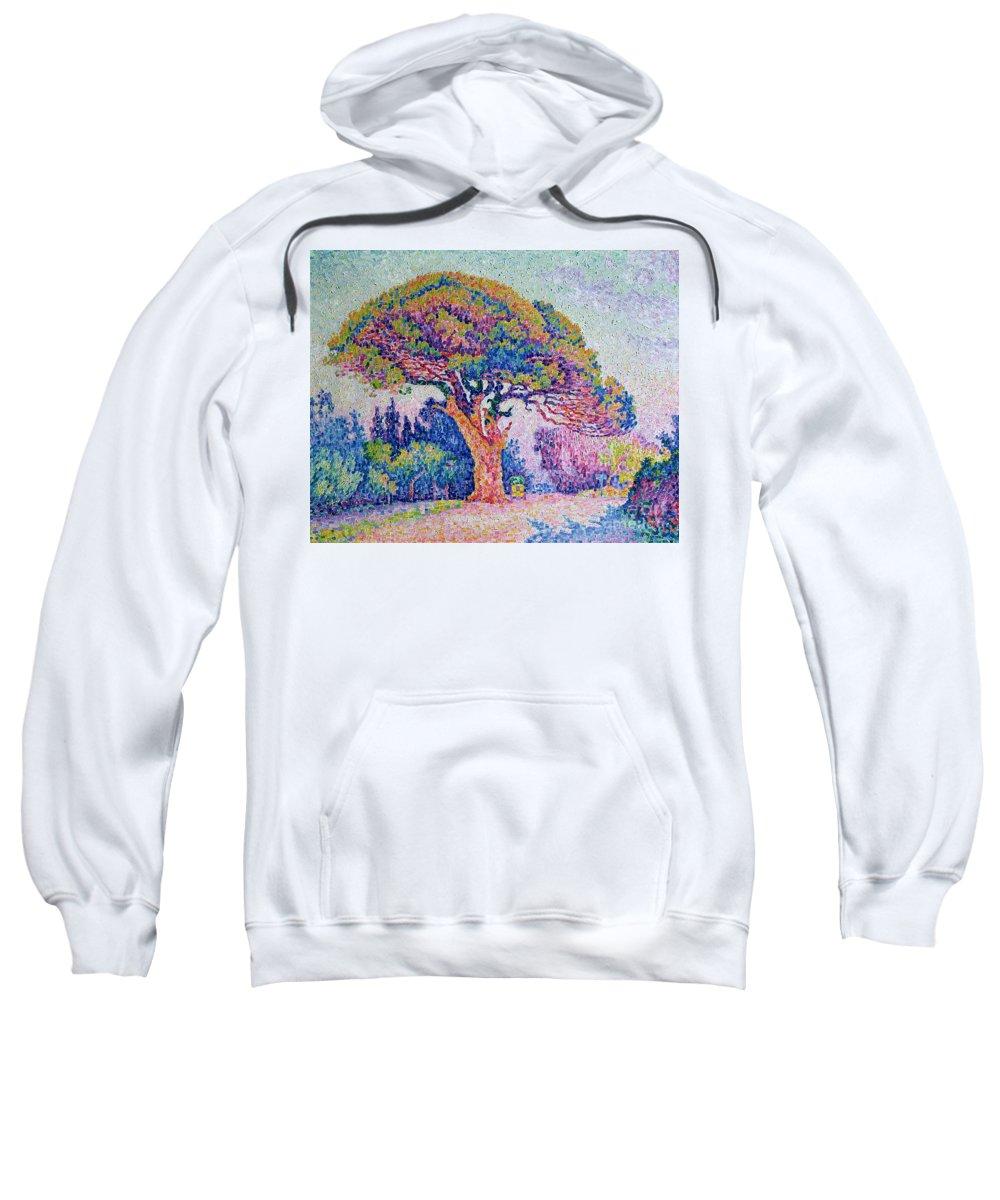 The Pine Tree At St. Tropez Sweatshirt featuring the painting The Pine Tree At Saint Tropez by Paul Signac